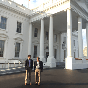 Scott Sarem with his son Alex Sarem at the White House Solar Finance Summit.